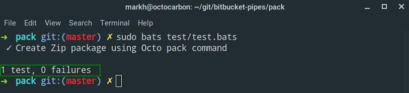 bats test run output