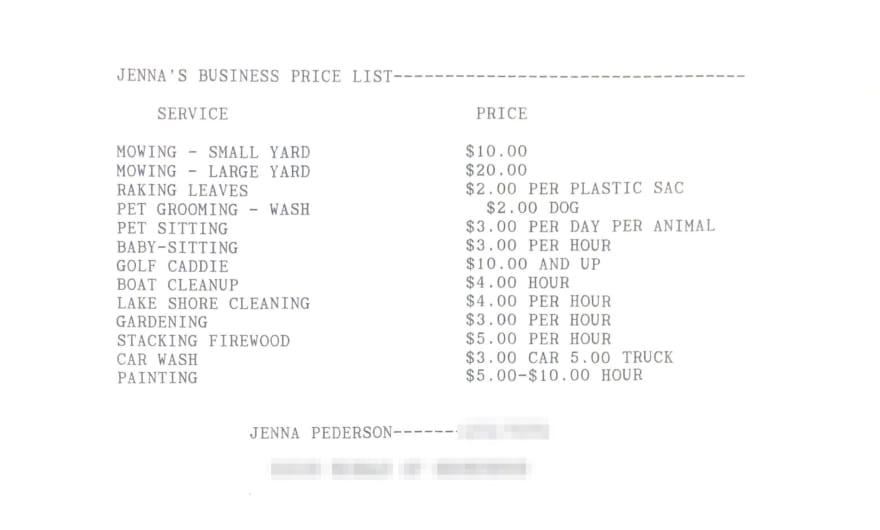 Odd Jobs Price List