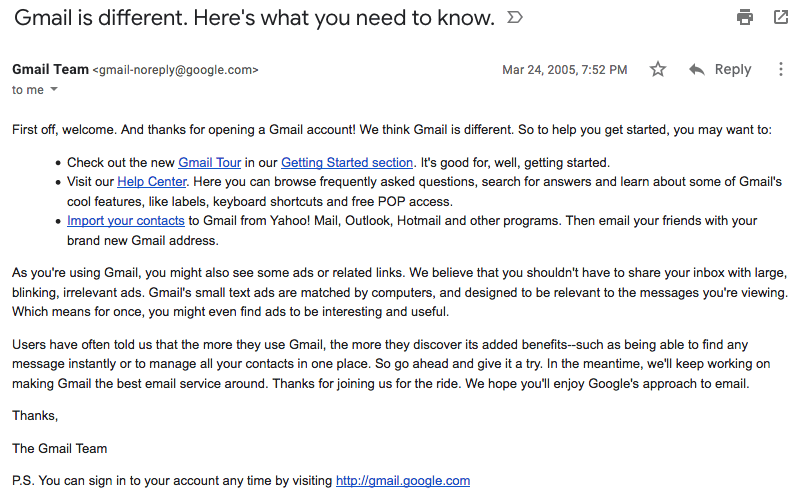 Gmail welcome email in 2005