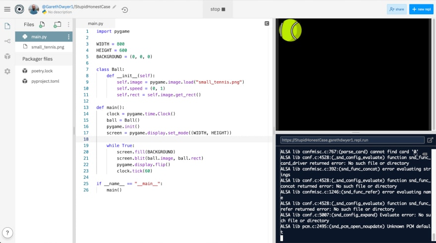 **Image 4:** *Drawing the tennis ball in our PyGame environment.*