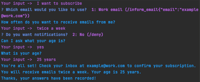 Newletter form chat