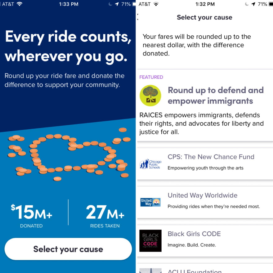 Screenshots of Lyft's Donate feature.
