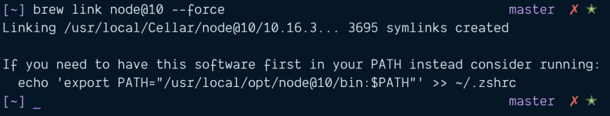 Linking Node 10 with --force.