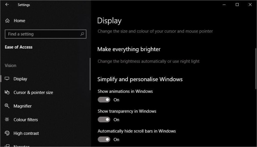 Windows settings showing the option to disable animation.