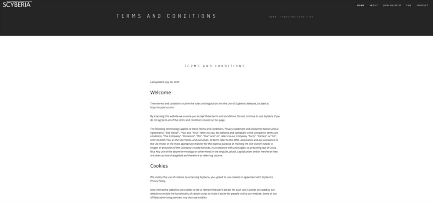 Screenshot of Scyberia Terms and Conditions