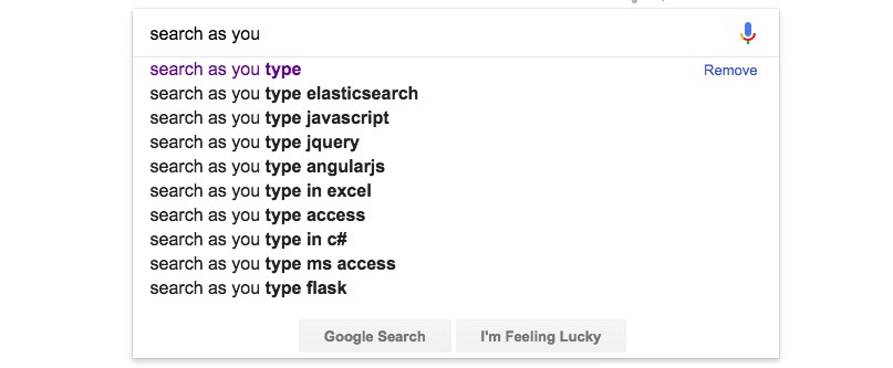 Google Search Auto-suggestion Example
