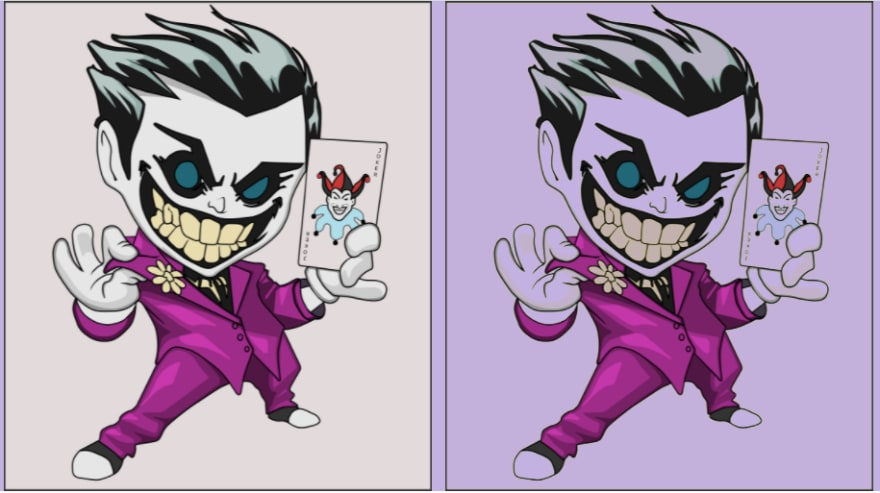 Comparison of Joker with and without blend mode.
