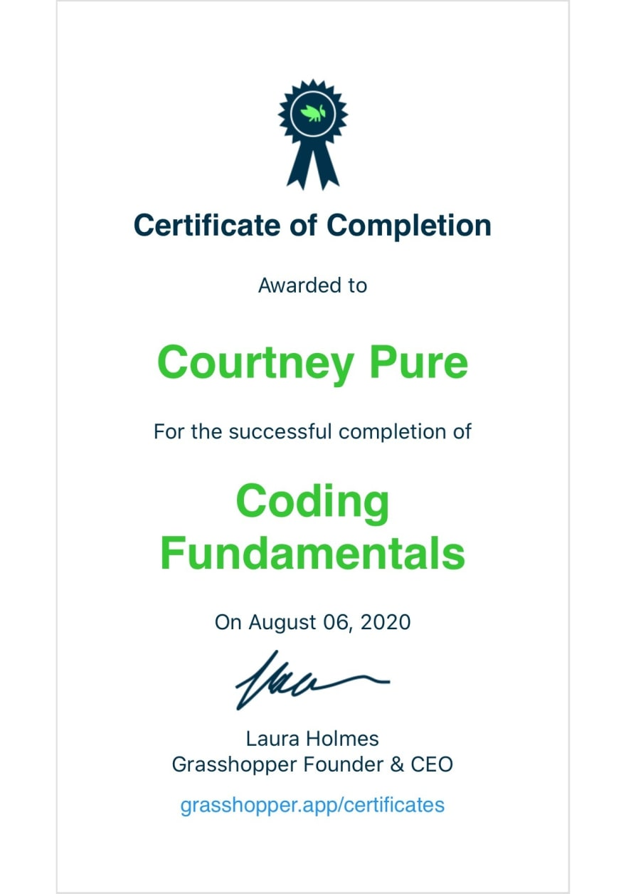 Certificate of Completion Coding Fundamentals from Grasshopper