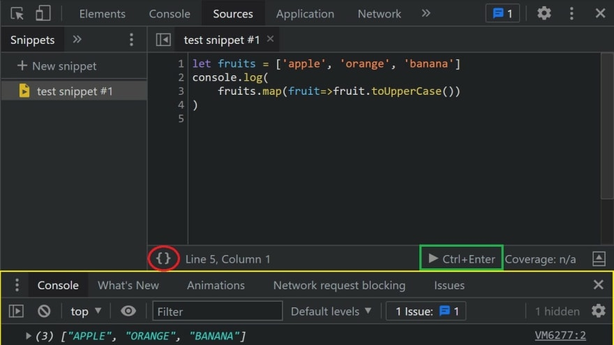 Chrome Dev Tools Snippets Example