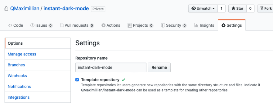 GitHub repo on the Settings tab, with checkbox to enable a repository to become a template repository checked