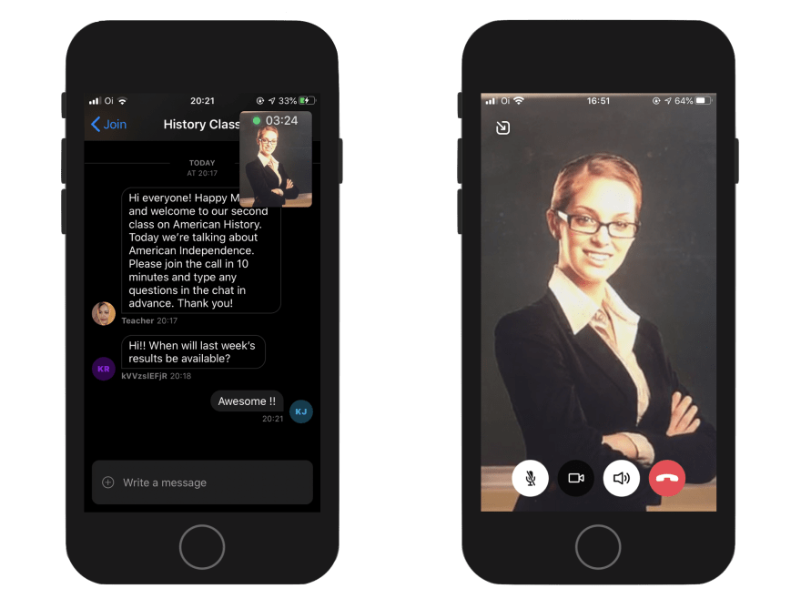Image shows two screenshots, one from the chat screen with a small video overlay with the teacher, and another with a fullscreen video of the teacher and students