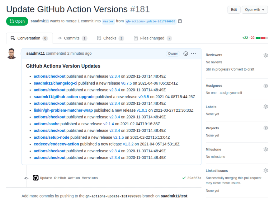 GitHub Actions Version Updater Pull Request
