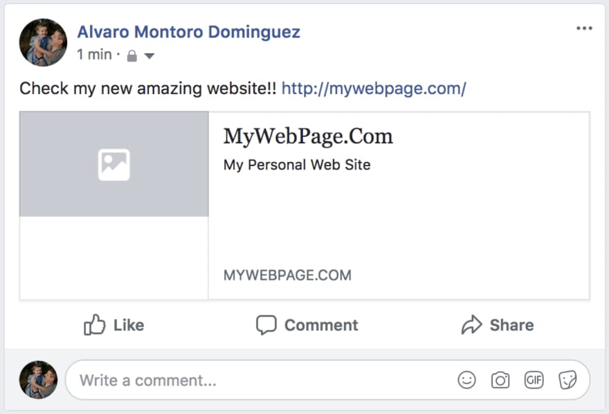 Screen capture of facebook share with empty metadata