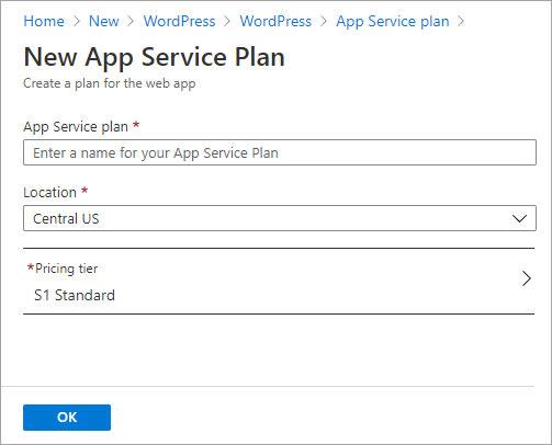 Create new App Service plan