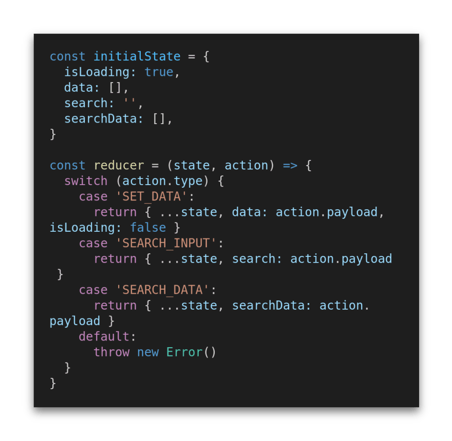 The initial state and reducer function set up