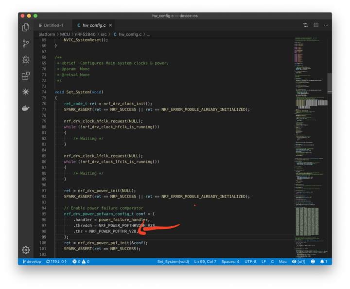 Screenshot of code location
