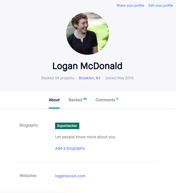Example of Kickstarter's Profile Page
