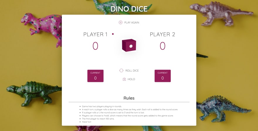JavaScript dice game with dinosaur stock image background