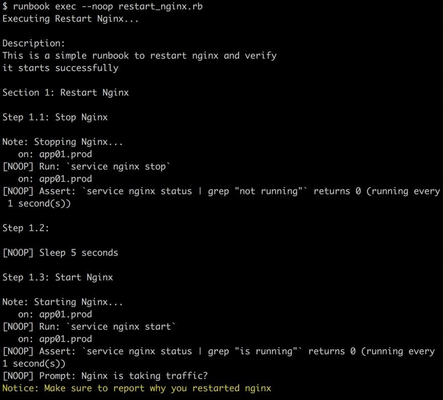An example of Runbook running in noop mode