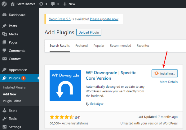Use the WP Downgrade plugin to dowgrade WordPress to any version.