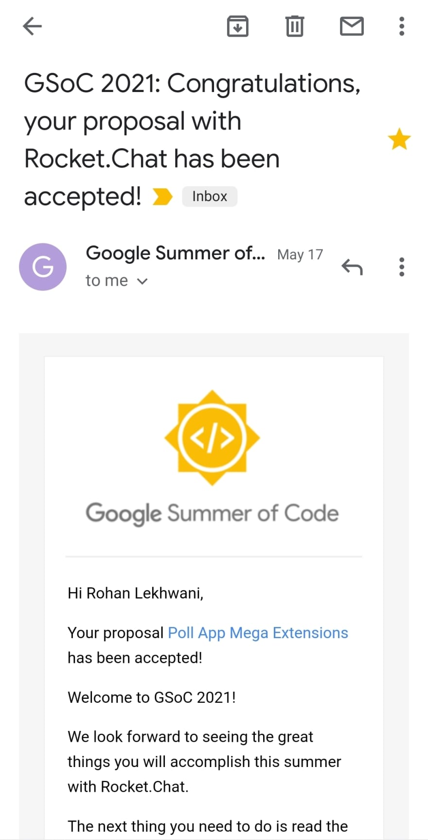 GSoC Acceptance Mail