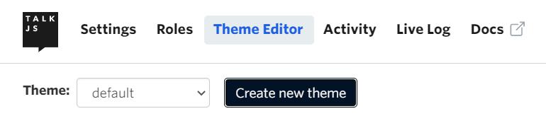 Create new theme button screenshot
