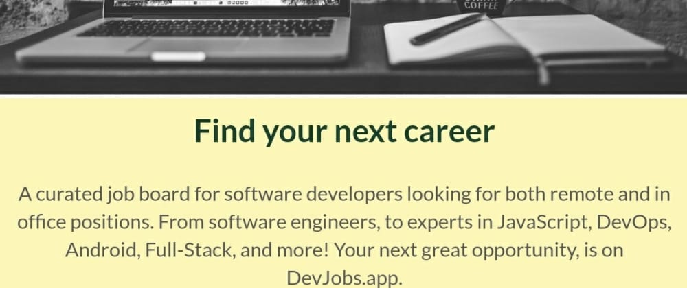 Cover image for DevJobs.app on Producthunt