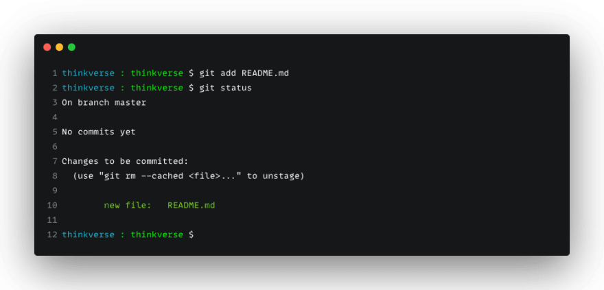 Use git add to stage the file to your git workspace