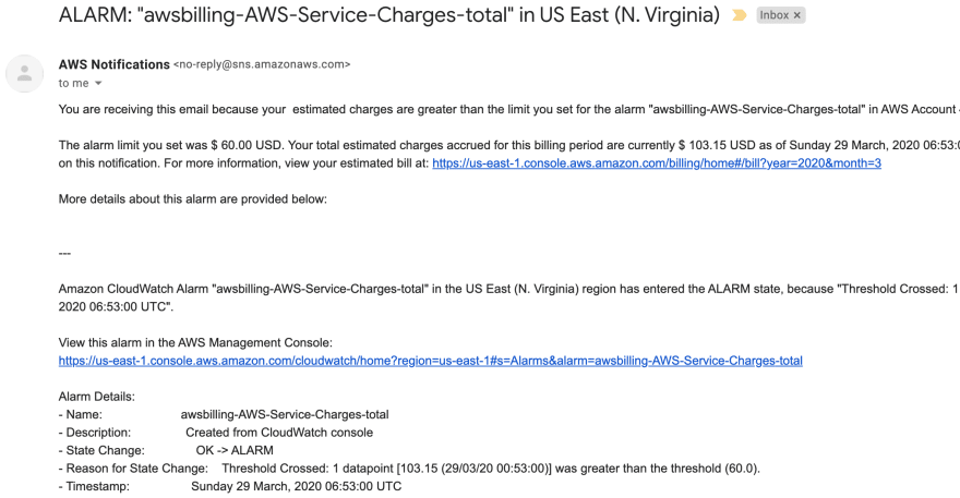 My first AWS billing alerts