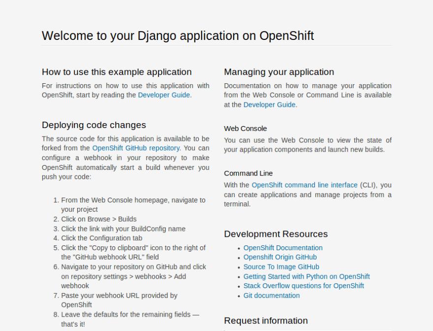 openshift django example welcome screen