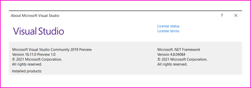 Visual studio version used for .NET MAUI Preview 4