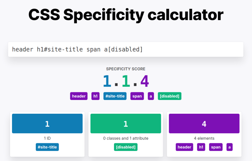 CSS specificity calculator screenshot