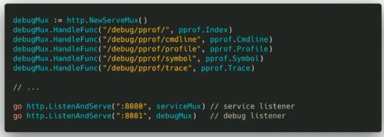 Running net/http/pprof on the different port