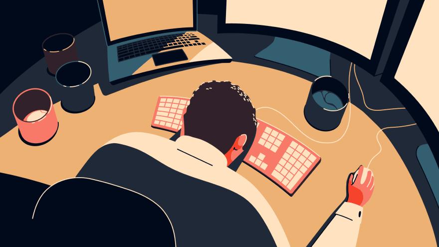 Man at desk head down