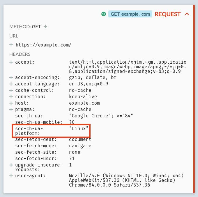 An example.com request including a Sec-CH-UA-Platform client hint