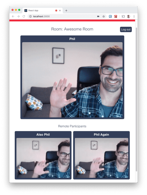 Success! You should now see yourself in a video chat with yourself.