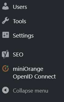 screenshot of miniOrange OpenId connect plugin menu option