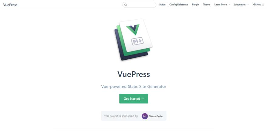 Documentation Generator Vuepress - Homepage screen