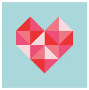 Geometric heart image made with CSS