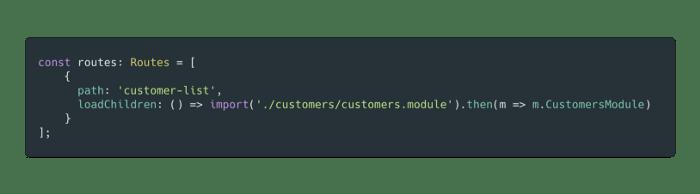 Lazy loading a module in Angular / source: angular.io