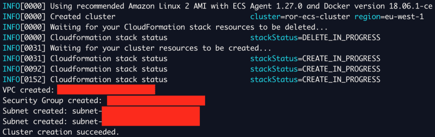 Alt ecs-cli up command output
