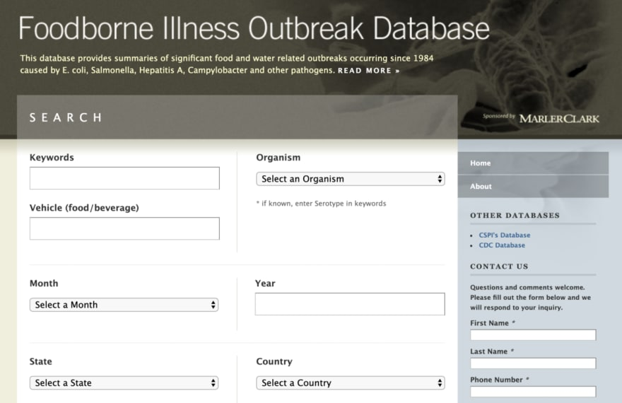 Original outbreak database website