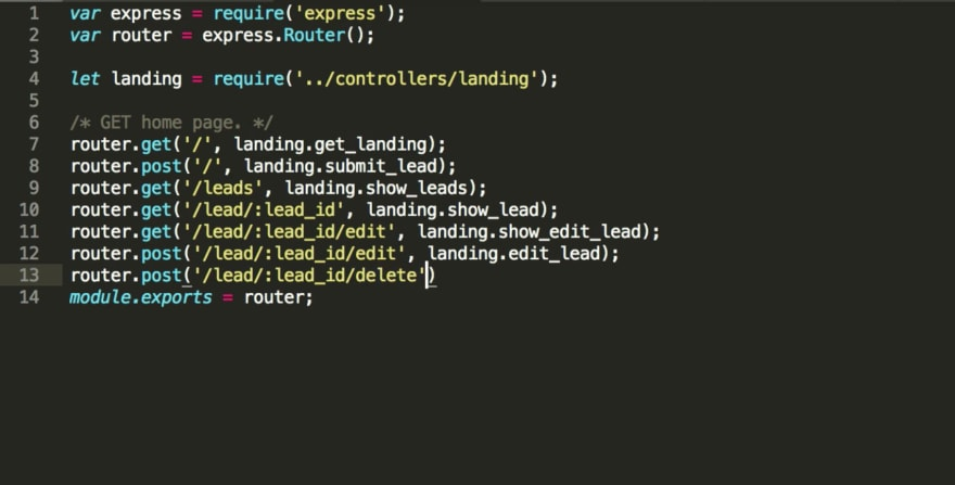 CRUD snippet from tutorial