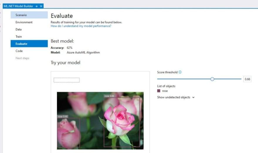 Evaluation for Model Builder in Visual Studio