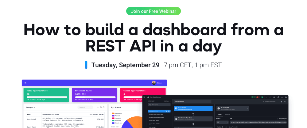 Cover image for Webinar: Building a dashboard from a REST API in UI Bakery