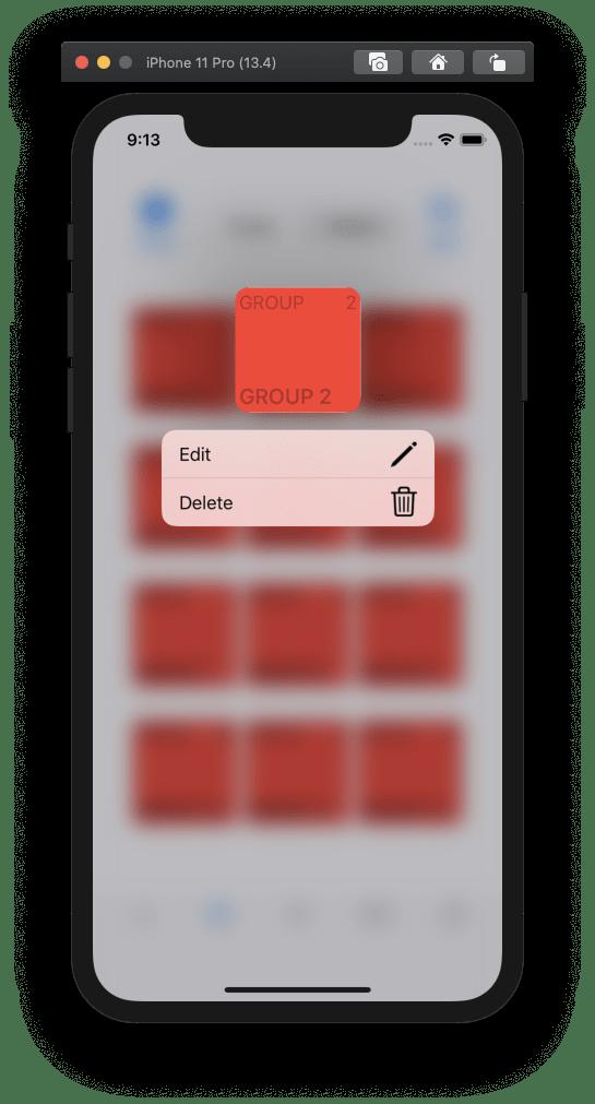 Example of Context Menu in iOS