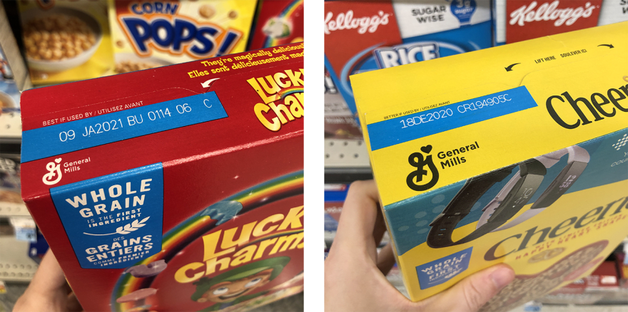 Two cereal boxes—Cheerios and Lucky Charms—showing how the expiration date is stamped imprecisely onto a large blue rectangle