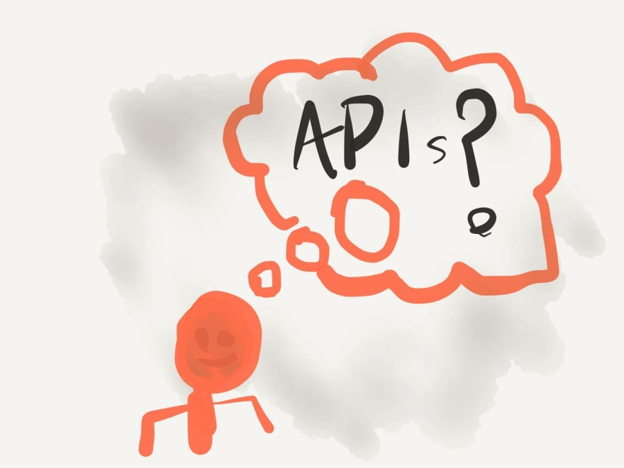 An illustration of a person thinking about APIs