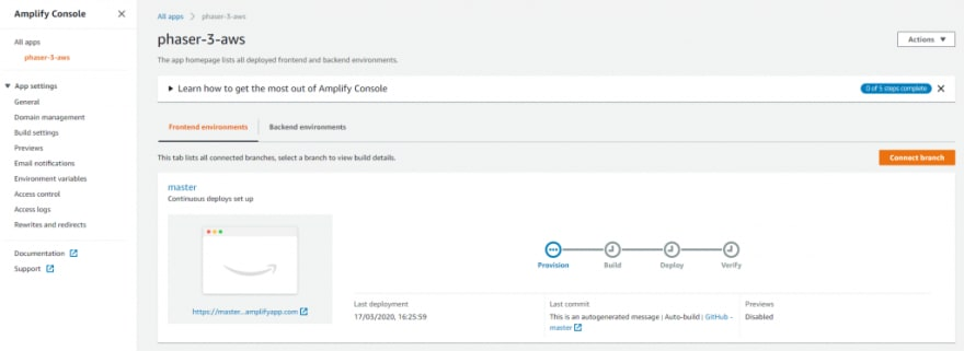 Amplify overview page
