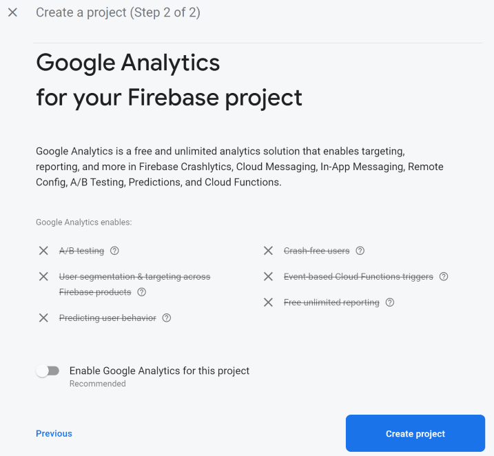 Setting up the project's analytics